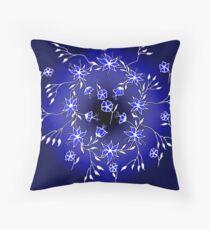 Flower Swirl - Blue Throw Pillow