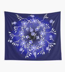 Flower Swirl - Blue Wall Tapestry