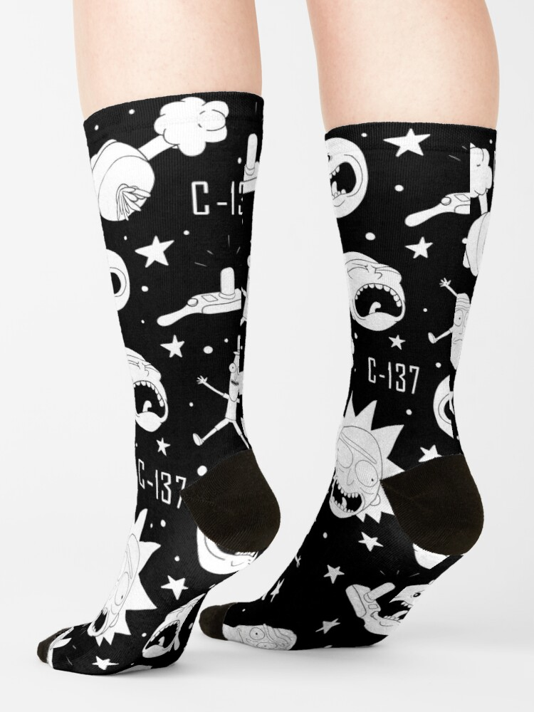 Alternate view of Black and white Rick and Morty pattern Socks