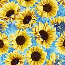 Dreamy Sunflowers on Blue by micklyn