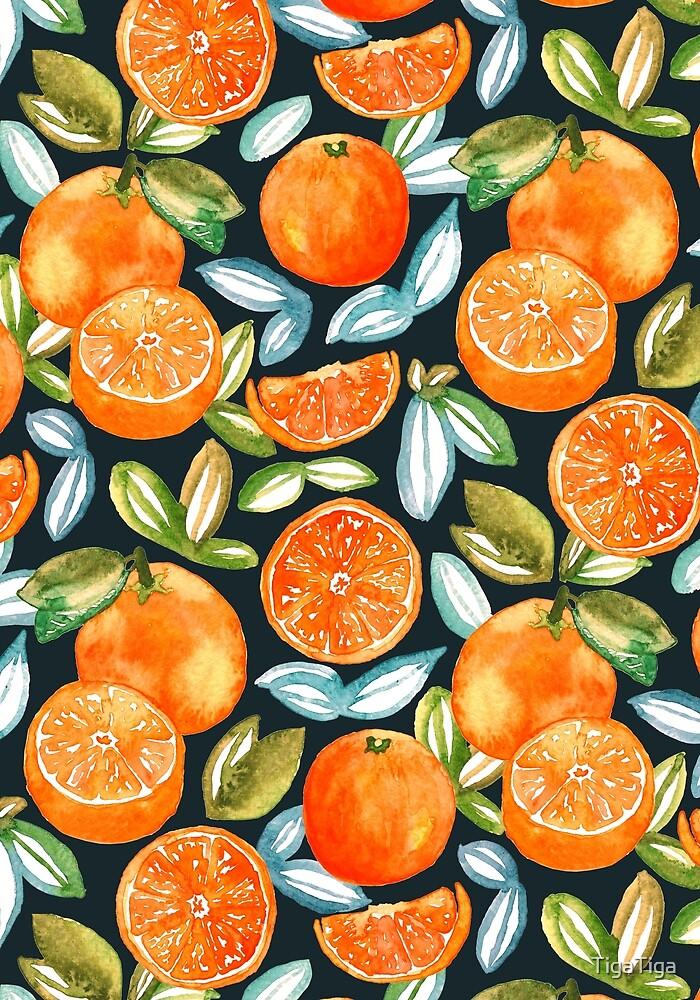 Oranges On Navy  by TigaTiga