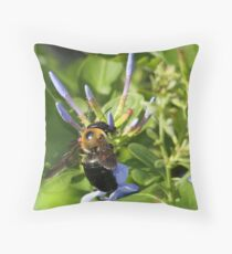 Bumble bee on blue flowers Throw Pillow