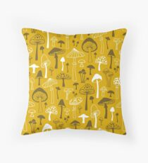 Mushrooms in Yellow Throw Pillow