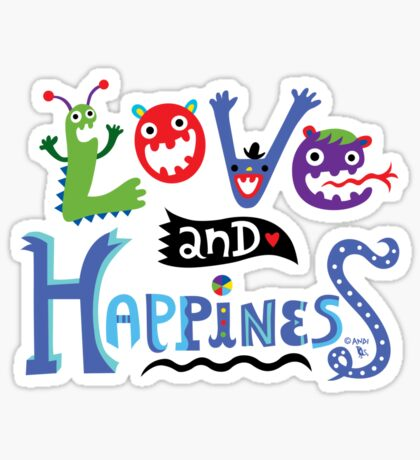 Love & Happiness  - beige Sticker