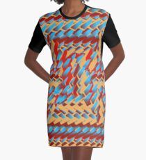 Sunblaze S-type Blade Distort Seamless Pattern Graphic T-Shirt Dress