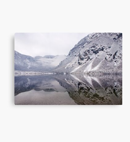 Icy mountain reflections Canvas Print