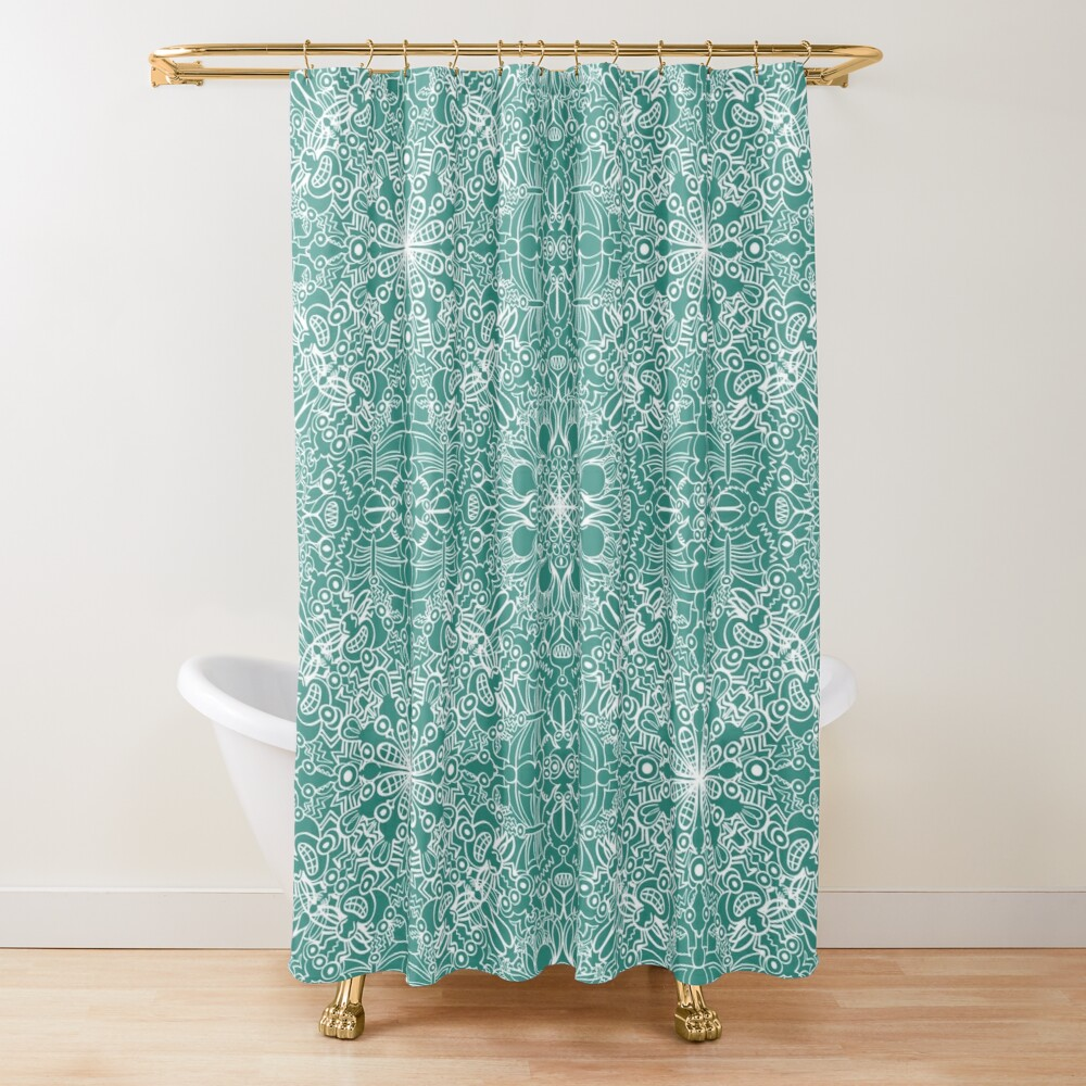 Terrific insects crowded together in a single seamles pattern design Shower Curtain