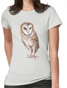 Barn owl drawing Womens Fitted T-Shirt