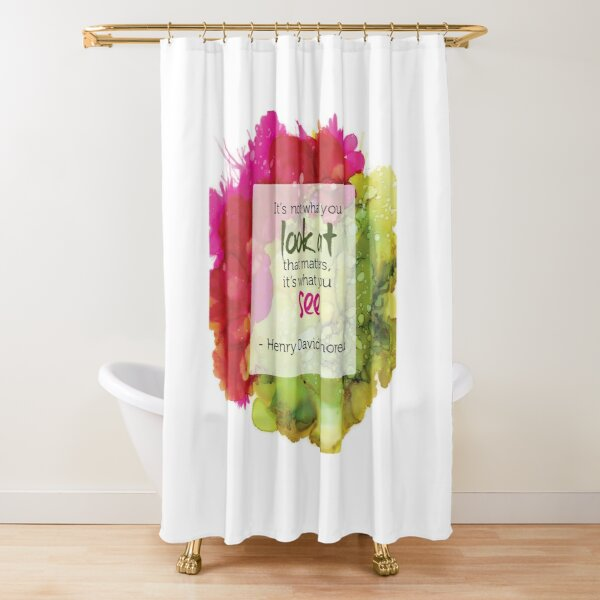 Inspirational Quote - Alcohol Ink Shower Curtain