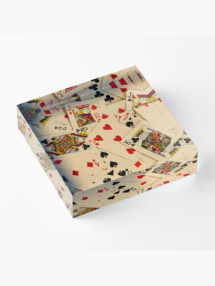 Alternate view of Scattered Pack of Playing Cards Hearts Clubs Diamonds Spades Pattern Acrylic Block