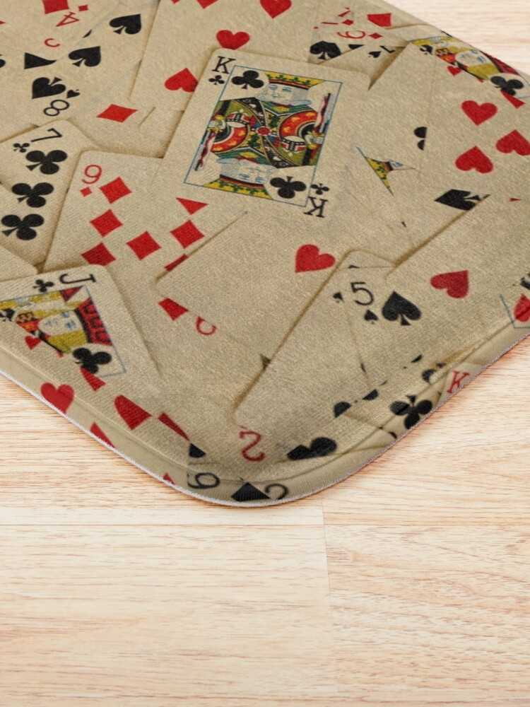 Alternate view of Scattered Pack of Playing Cards Hearts Clubs Diamonds Spades Pattern Bath Mat
