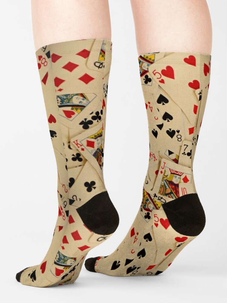 Alternate view of Scattered Pack of Playing Cards Hearts Clubs Diamonds Spades Pattern Socks