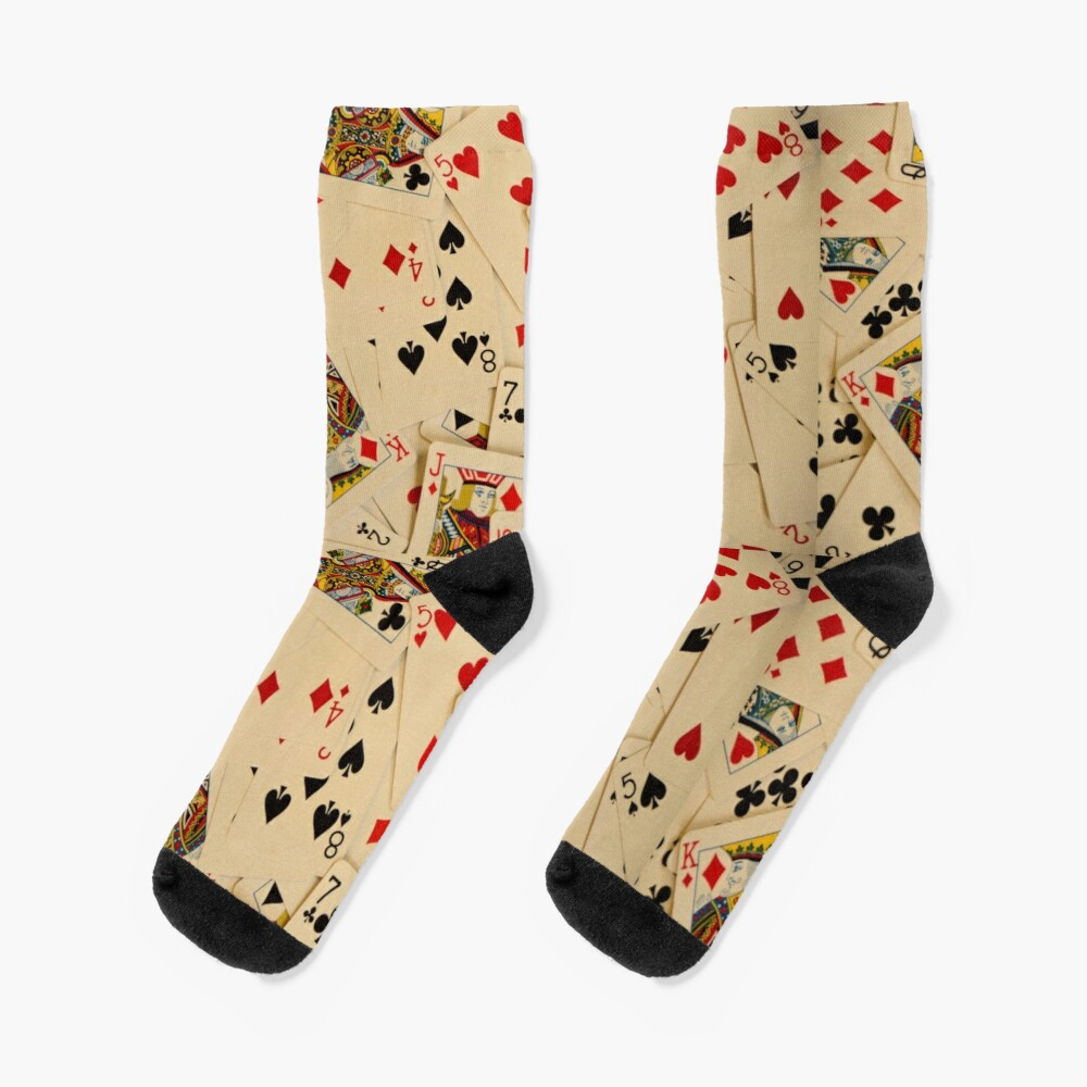 Scattered Pack of Playing Cards Hearts Clubs Diamonds Spades Pattern Socks