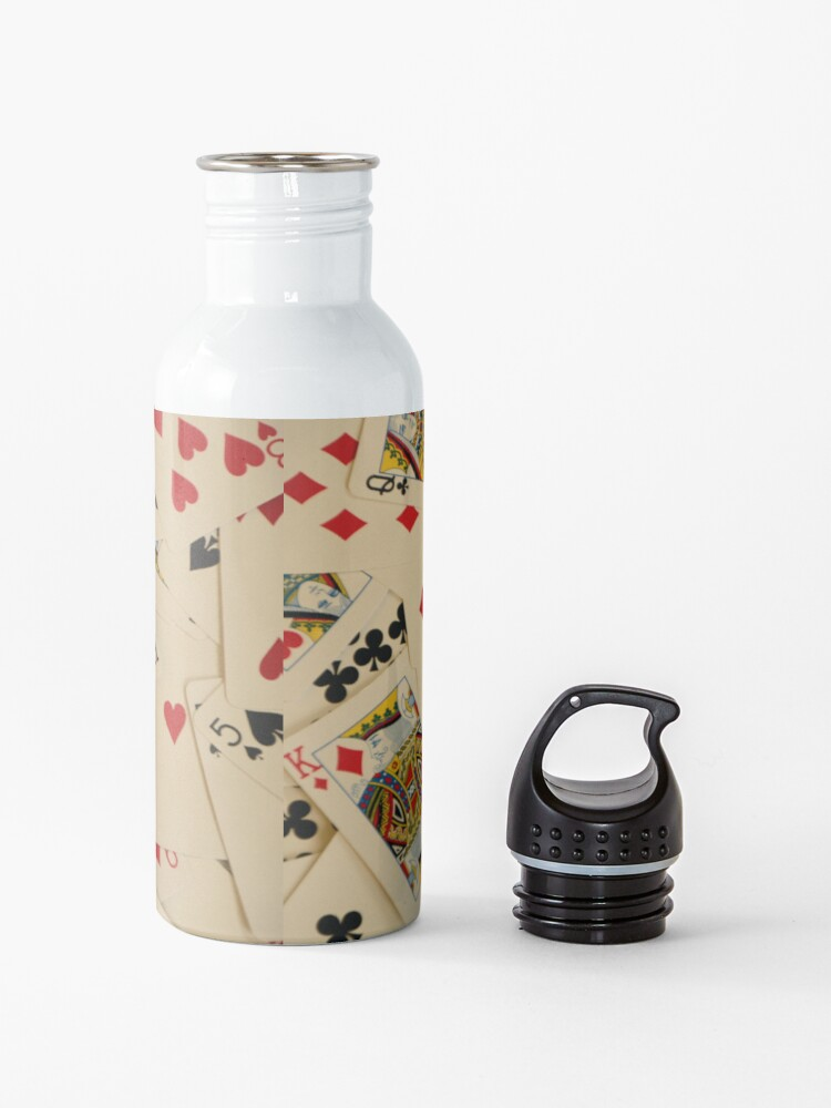 Alternate view of Scattered Pack of Playing Cards Hearts Clubs Diamonds Spades Pattern Water Bottle