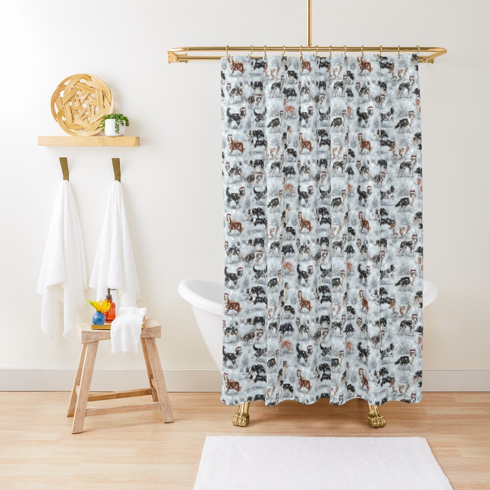 The Christmas Border Collie Shower Curtain