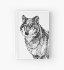 Grey wolf illustration Hardcover Journal