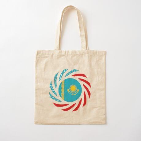 Kazakhstani American Multinational Patriot Flag Series Cotton Tote Bag