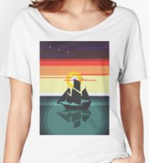 The Black Vector | Pirate Ship Women's Relaxed Fit T-Shirt