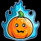 Kawaii Cute Flaming Pumpkin by Fiona Reeves