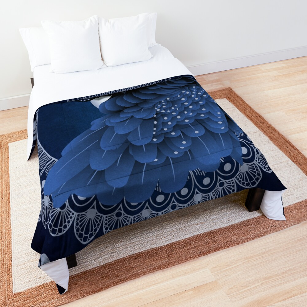 Decorative Australian Cockatoo in Blue Comforter
