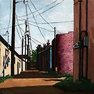 Back Alley-  city street alleyway urban art painting by LindaAppleArt