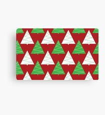 Red & Green Christmas Trees Canvas Print
