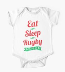Eat, Sleep, Rugby, Repeat One Piece - Short Sleeve