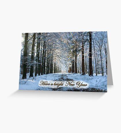 Lane Through Snowy Woods - Bright New Year Greeting Card