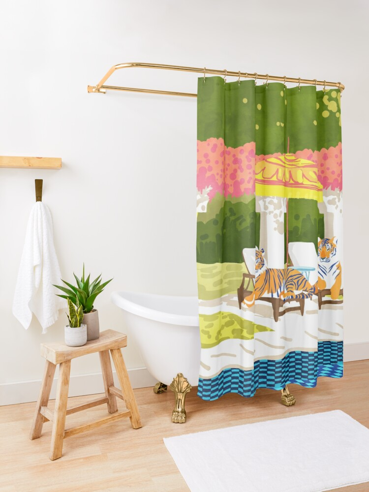 Alternate view of Tiger Vacay #illustration #wildlife #painting Shower Curtain