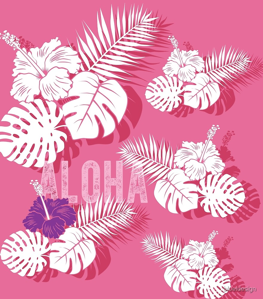 Tropical Hibiscus Palm Leaves Aloha Pink by blueidesign