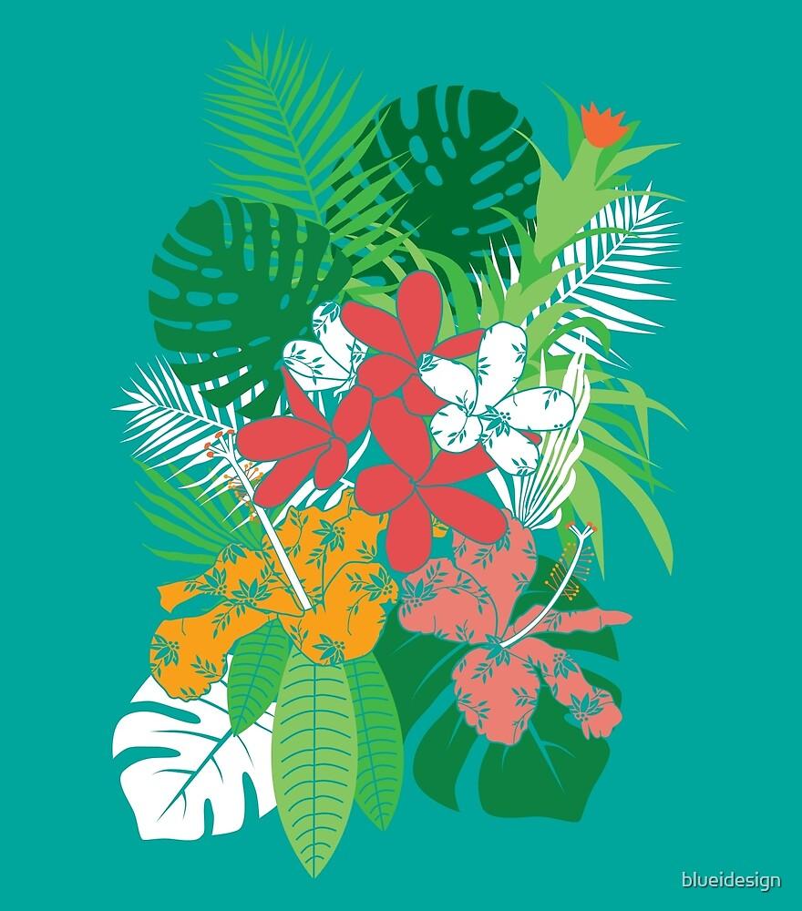 Tropical Flowers Frangipani Hibiscus Palm by blueidesign