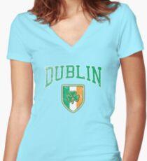 Dublin, Ireland with Shamrock Women's Fitted V-Neck T-Shirt