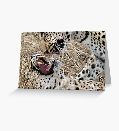 Leopard Mom And Son Greeting Card