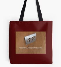 Restaurant at the end of the universe Tote Bag