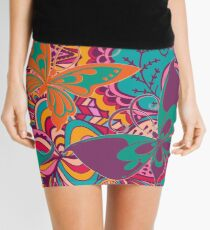 The Angels Sing with Butterflies in a Cloud of Paisley Flowers Mini Skirt