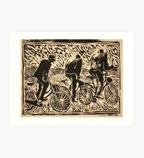 Rising from the saddle, three riders Art Print