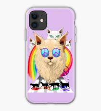 'Imagine' Cat Rainbow Peace and Love iPhone Case
