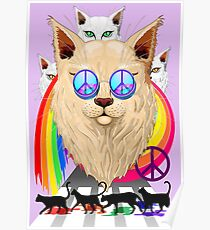 'Imagine' Cat Rainbow Peace and Love Poster