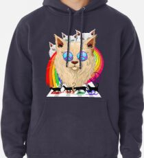 'Imagine' Cat Rainbow Peace and Love Pullover Hoodie