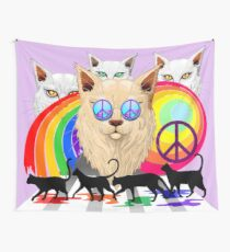 'Imagine' Cat Rainbow Peace and Love Wall Tapestry