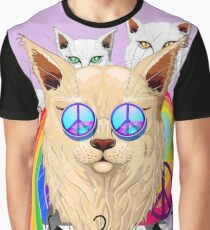 'Imagine' Cat Rainbow Peace and Love Graphic T-Shirt