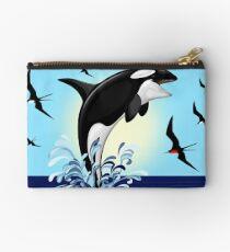Orca Killer Whale jumping Zipper Pouch