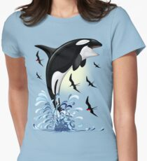 Orca Killer Whale jumping Fitted T-Shirt