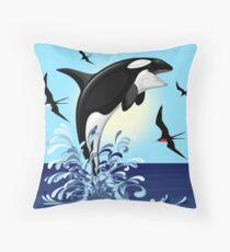 Orca Killer Whale jumping Throw Pillow