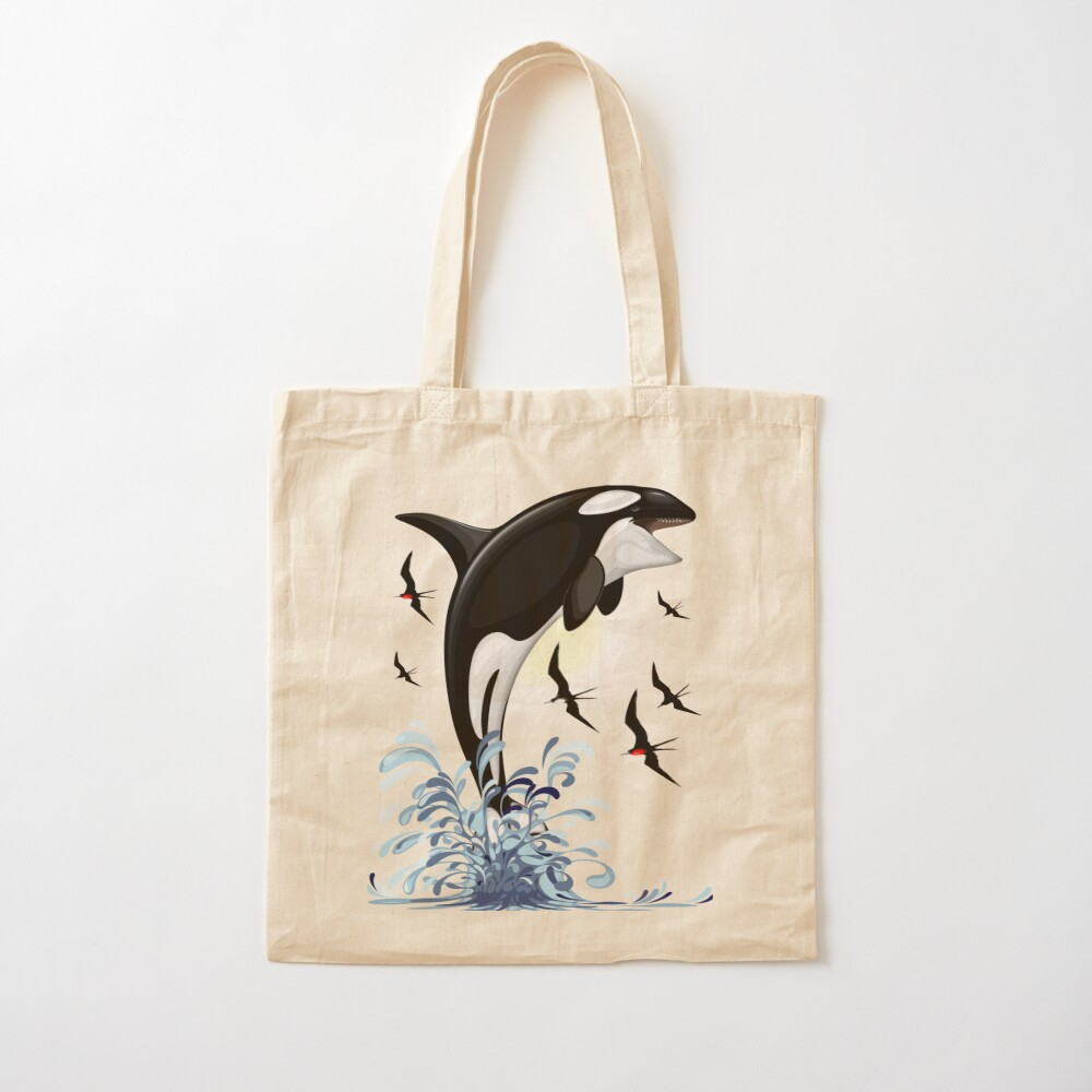 Orca Killer Whale jumping Cotton Tote Bag