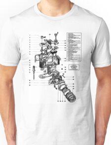 1977 Nikon SLR Camera exploded drawing. Unisex T-Shirt