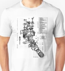 1977 Nikon SLR Camera exploded drawing. Unisex T-Shirt