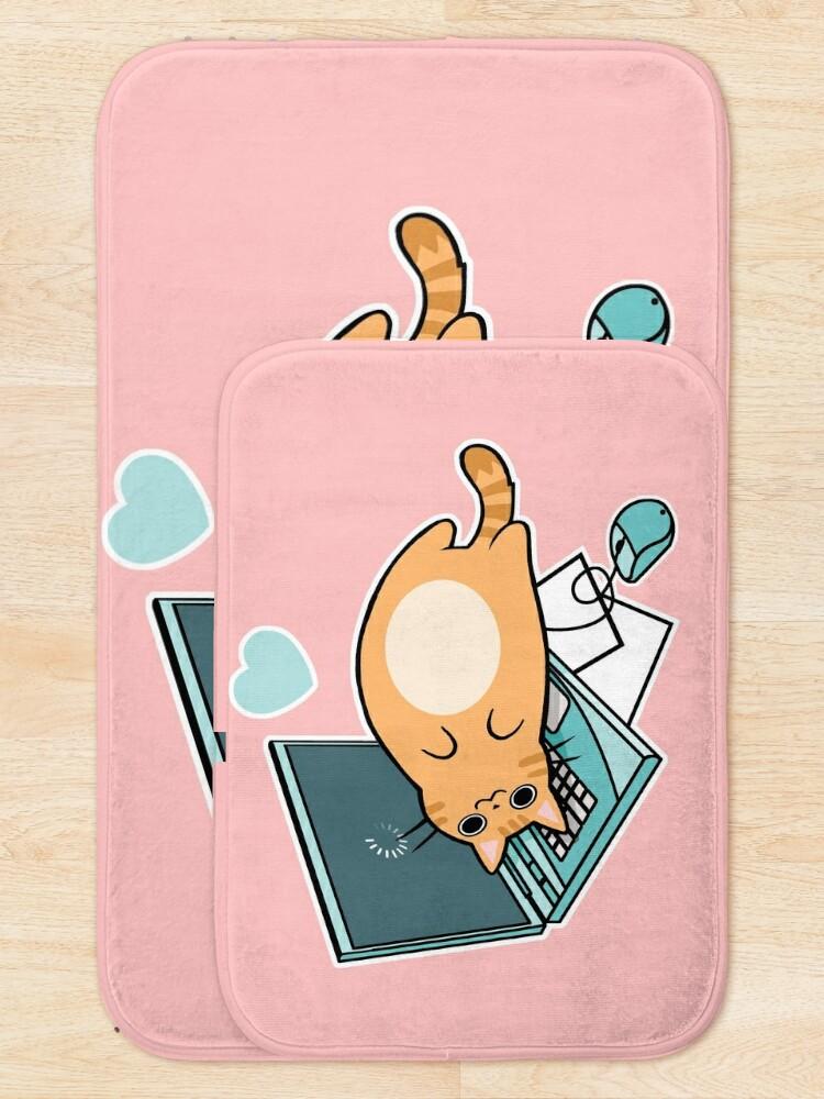 Alternative Ansicht von Nette Laptop-Katze Badematte