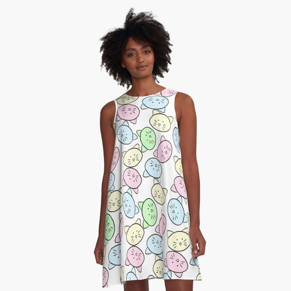 Pastel Cats A-Line Dress