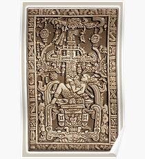 Ancient Astronaut, Pakal, Maya, sarcophagus lid. Poster